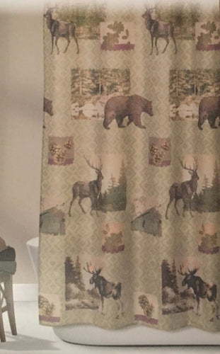 Design Home Mountain Lodge Woodland Fabric Shower Curtain Bear Moose