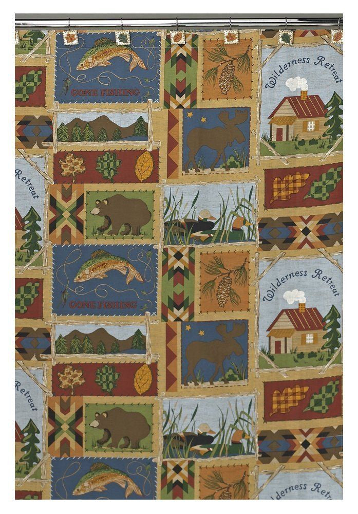 Campers Diary Moose Bear Wilderness Retreat Fabric Shower Curtain