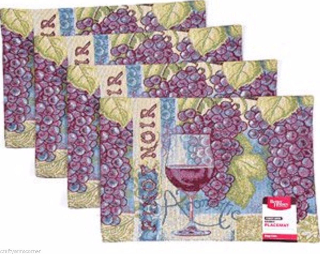 Better Homes and Gardens Pinot Noir Wine Grapes Set of 4 Placemats 13 x 18