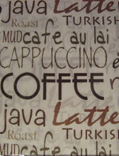 Java Coffee Mocha Typography 36L Tier Valance Set Kitchen Curtains