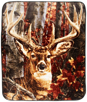 Ten Point Buck Deer Hunting Lodge Rustic Cabin Raschel Throw Blanket 50x60