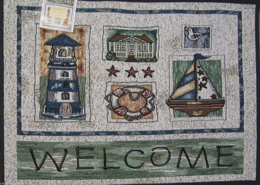 Welcome Lighthouse Sailboat Nautical Tapestry Kitchen Mat Rug Accent 19 X 27