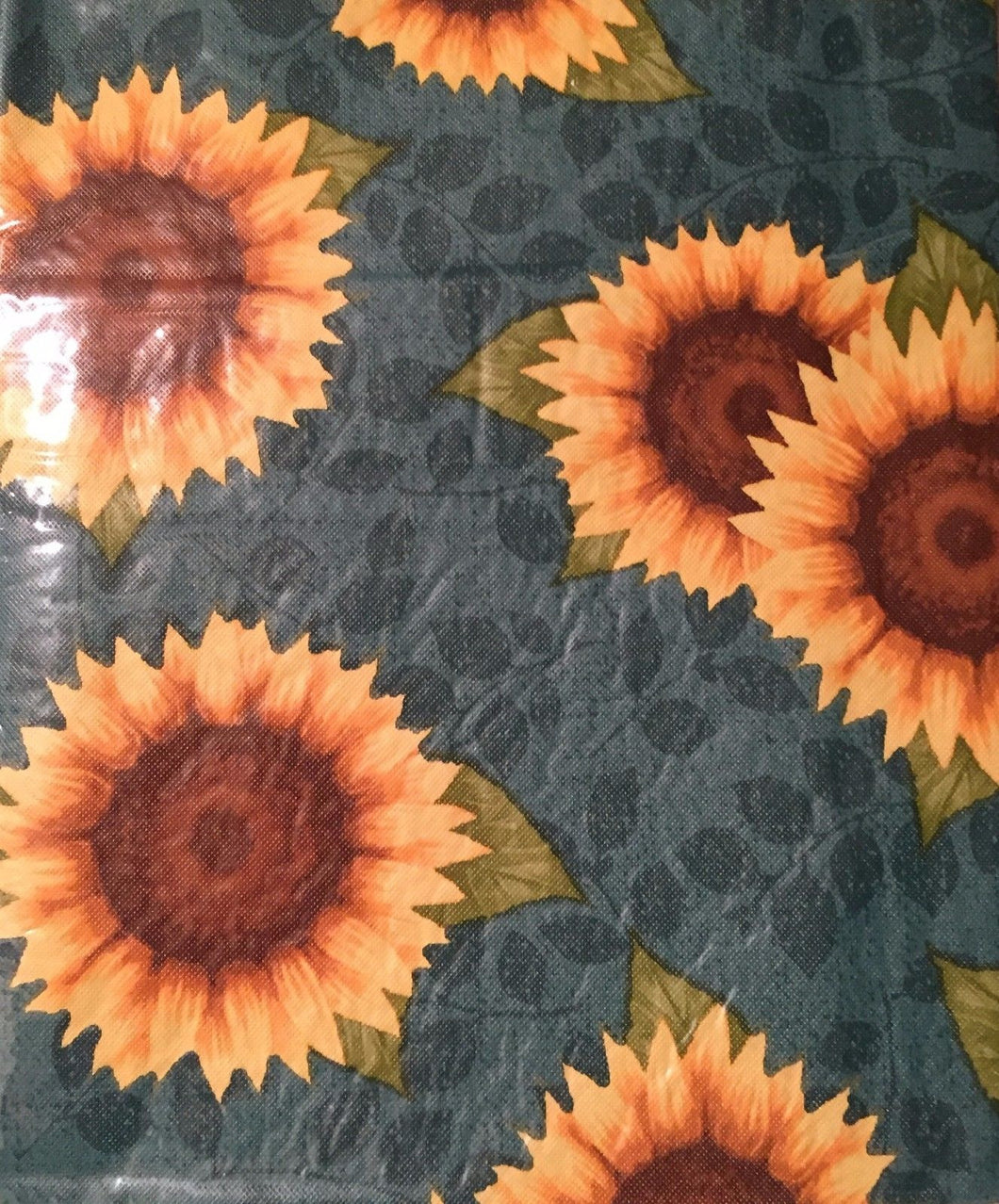Blue Sunflowers Vinyl Flannel Back Tablecloth 52x70 Oblong
