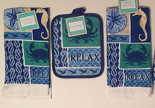 Relax Nautical Seahorse Crabs 4 pc kitchen towels potholder oven mitt set