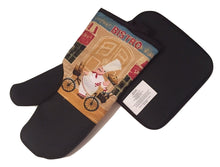 Bistro Fat Chef on a bicycle Neoprene Oven Mitt Potholder 2 pc Set