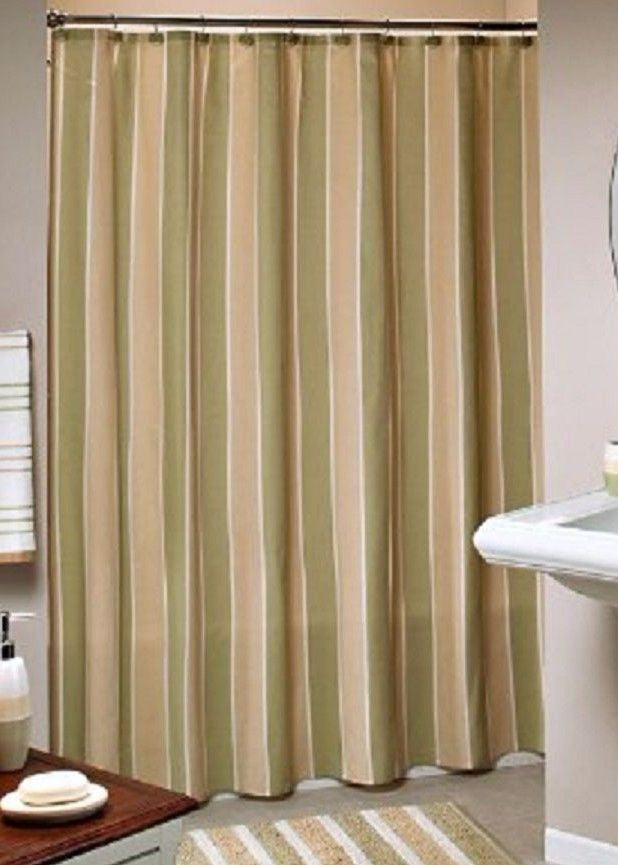 Saturday Knight Beach House Olive Green Beige Stripe Fabric Shower Curtain