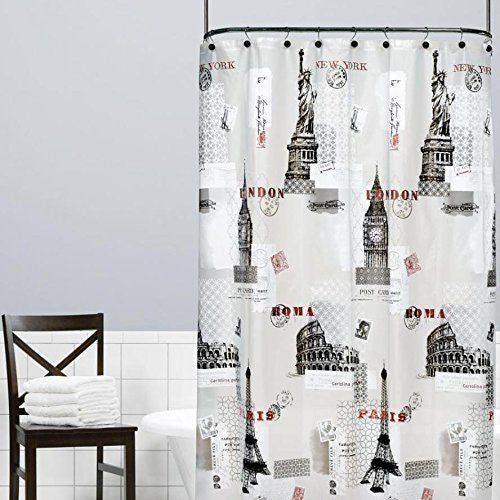 Anthopology Paris Roma World Towers Saturday Knight Peva Shower Curtain