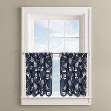 "Colordrift Deep Sea Seashell 36"" Tier Pair Kitchen Curtains Coastal"