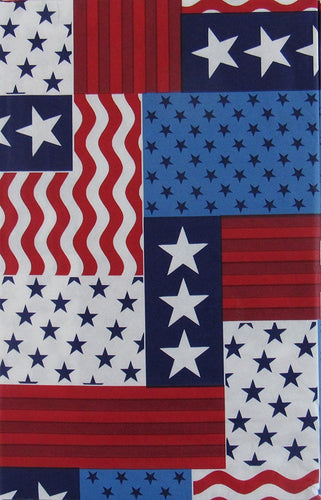 Patriotic Patchwork Red White Blue Stars Stripes 4th of July Tablecloth 60 Rd