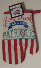 Eat Drink Be Patriotic Flag 4th July 2 pc potholder oven mitt set