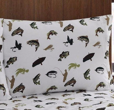 Pillowcases Fly Fishing Cabin Lodge Remington Set of 2