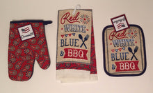 Patriotic Red White Blue BBQ 4th July 3 pc kitchen towel potholder oven mitt set