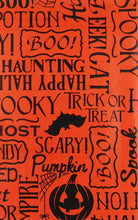 "Halloween Scary Words Phrases Vinyl Flannel Back Tablecloth Orange 60"" round"