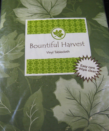 Elrene Bountiful Harvest Green Leaves vinyl flannel back tablecloth 60