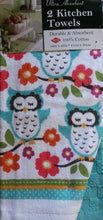 Ritz Owls Hoots and Blooms kitchen dish towels Set of 2