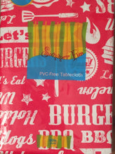 "Elrene Hot Dogs Burgers BBQ Lets Eat Vinyl Flannel Back Tablecloth 60"" Round Red"