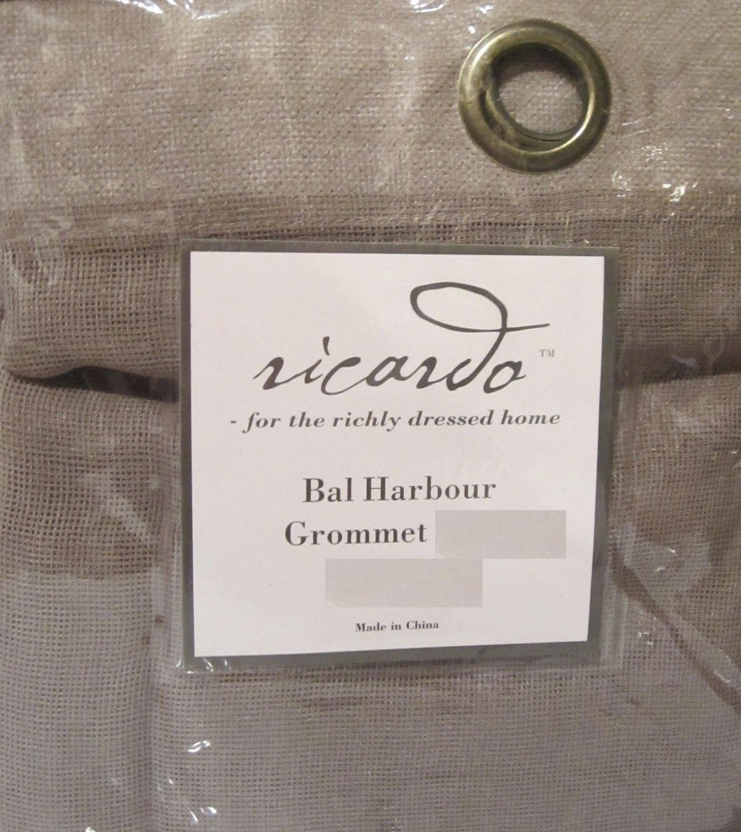 Bal Harbour semi sheer Grommet Taupe Tan Kitchen Curtain Valance