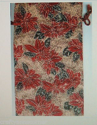 Christmas Holiday Poinsettia Cloth Wine Bottle Gift Bag