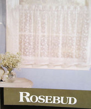 Rosebud flocked floral White Kitchen Curtains 24L Tiers crochet bottom edge