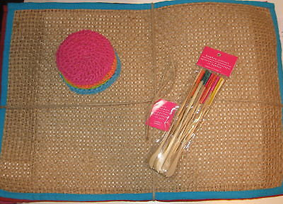 Jute Blue Red Purple Pink Set of 4 placemats 12 stirrers 4 coasters