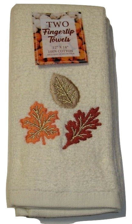 Set of 2 Embroidered Fall Leaves Off White Fingertip Towels