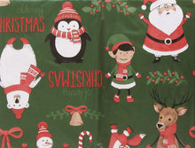 Christmas Vinyl Flannel Tablecloth 52 x 70 Oblong Santa Fox Polar Bear Elf Green