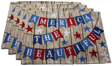 America the Beautiful Patriotic Americana Woven Tapestry Placemats Set of 4