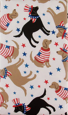 Americana July 4th Patriotic Dogs Flannel Back Vinyl Tablecloth Assorted Sizes