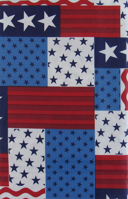 Patriotic Patchwork Red White Blue Stars Stripes 4th of July Tablecloth 52 x 70