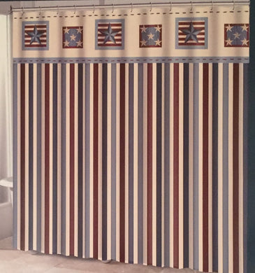 Americana Patriotic Stripes and Stars Fabric Shower Curtain