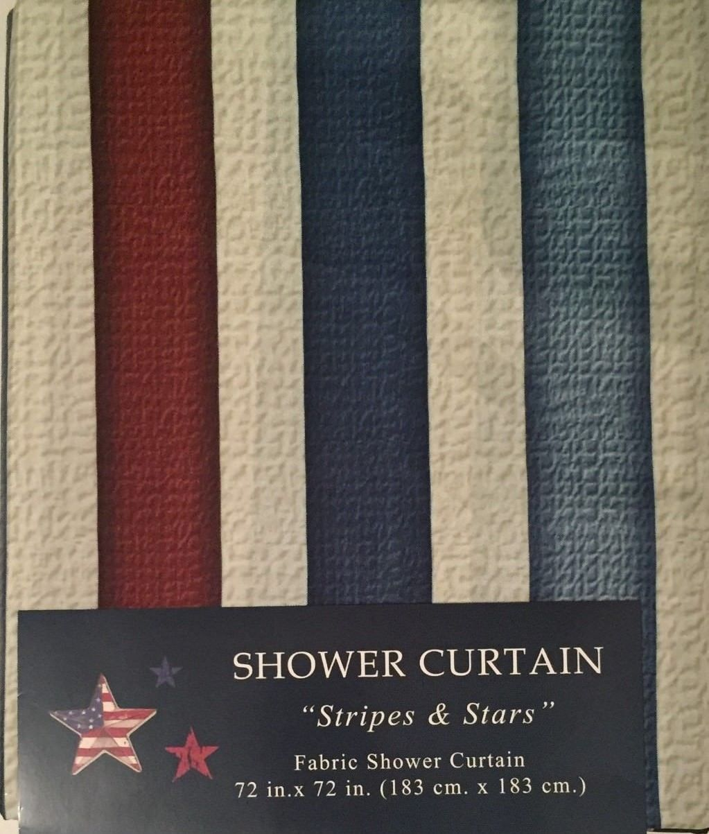 Americana Patriotic Stripes And Stars Fabric Shower Curtain Anns Home Decor More