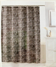 "Animal Print Fabric Shower Curtain Snow Leopard Print 70"" X 72"" Black"
