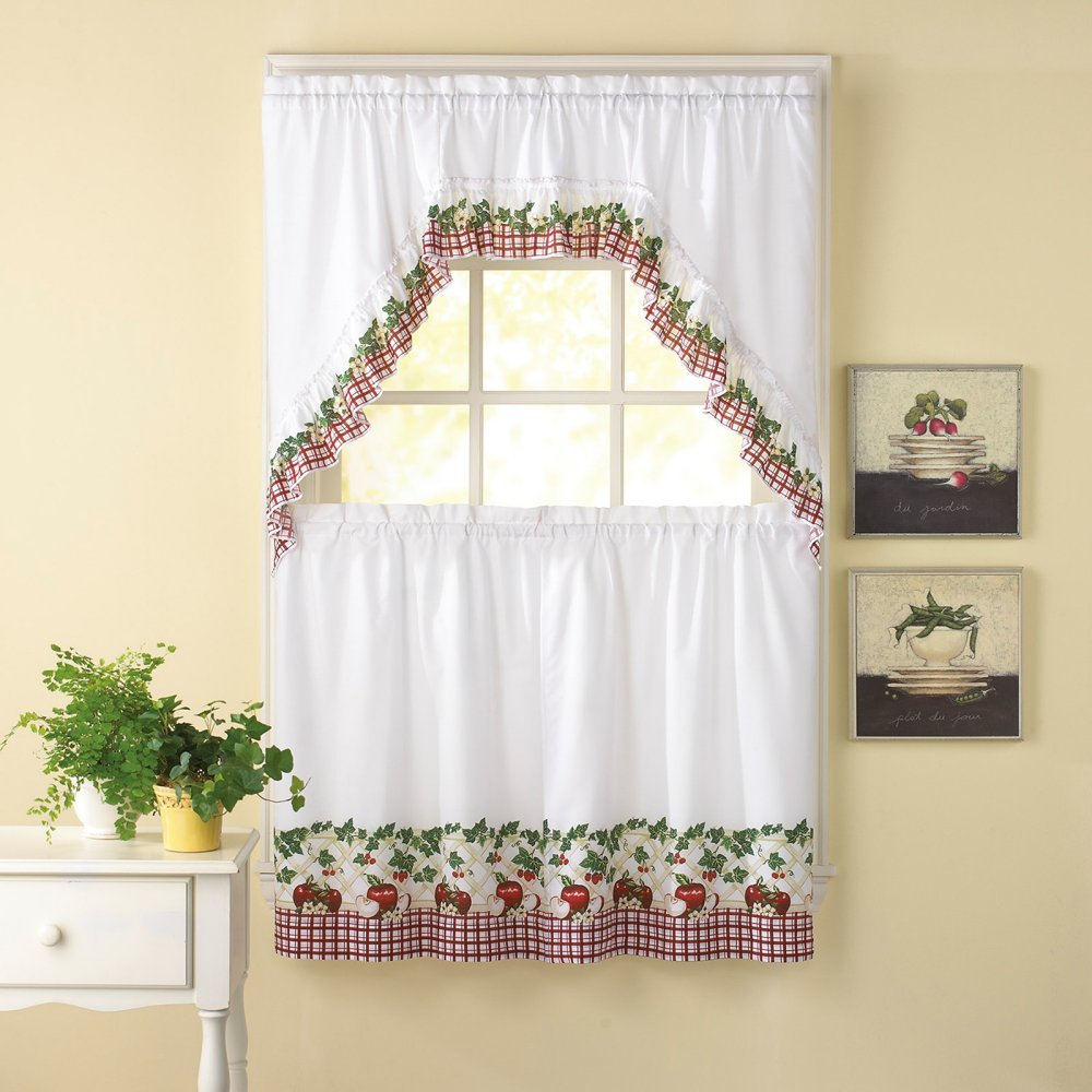 Apple Blossom 24L Tier and Swag Valance Set Kitchen Curtains