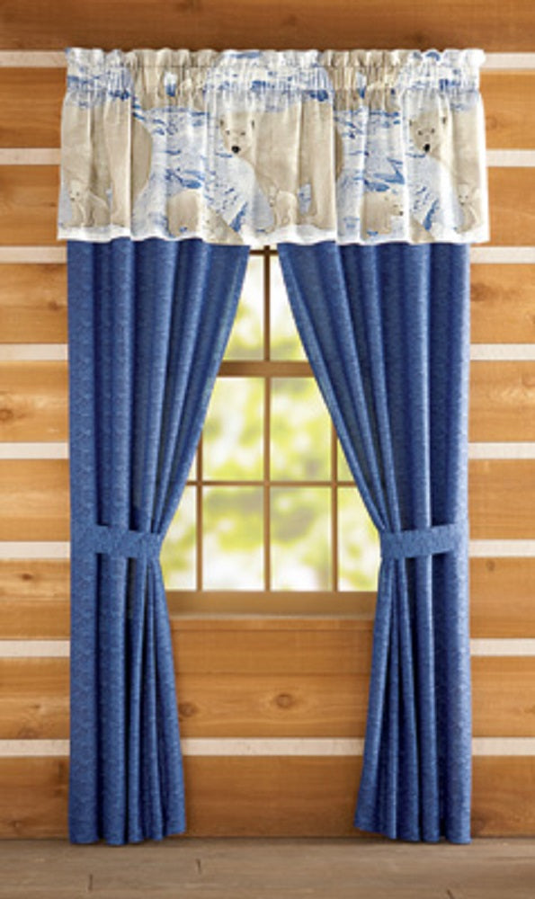 Arctic Polar Bear Window Valance and 84L Blue Panel Pair Curtains