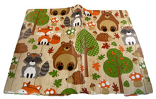 Autumn Woodland Animals Vinyl Flannel Tablecloth Hedgehogs Bears Raccoons Foxes