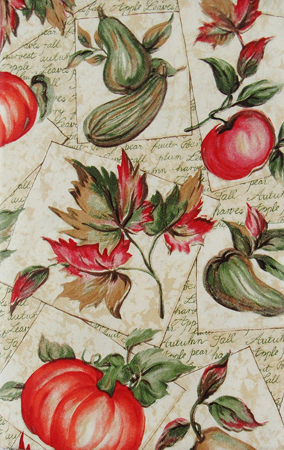 Autumn Harvest Fruits and Foliage Vinyl Flannel Back Tablecloth 60