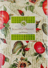 "Autumn Harvest Fruits and Foliage Vinyl Flannel Back Tablecloth 60"" Round"