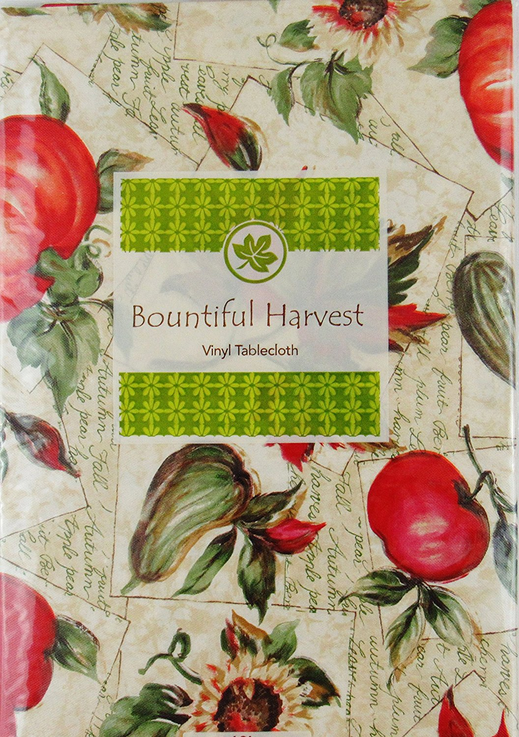 Autumn Harvest Fruits And Foliage Vinyl Flannel Back