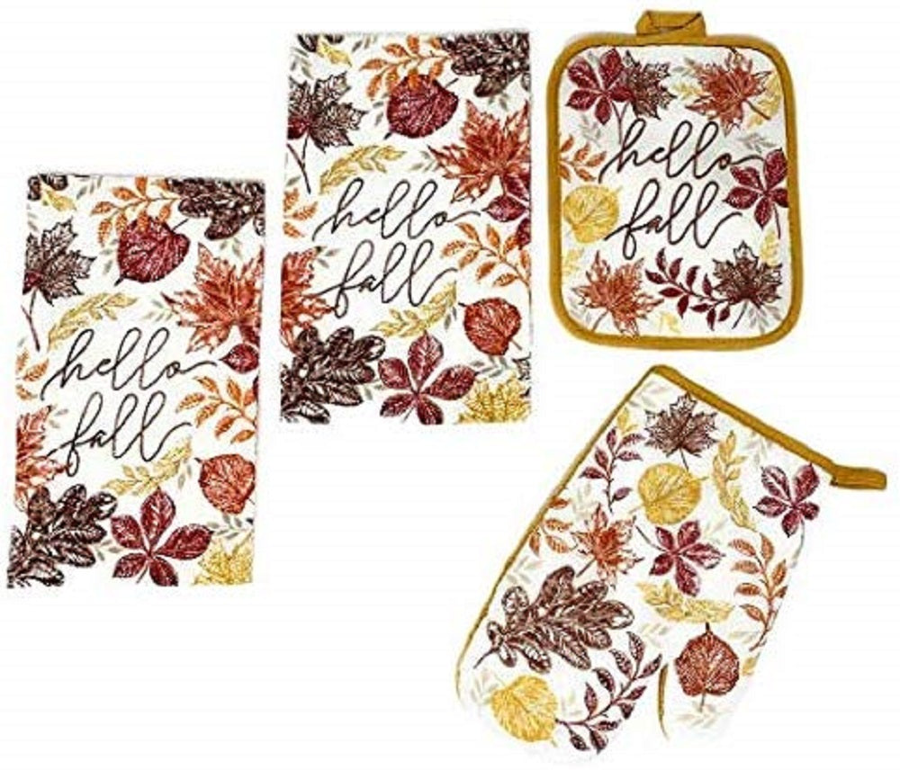 Autumn Kitchen Linen Set Towels Potholder Oven Mitt Hello Fall Leaves