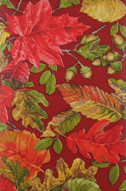 Autumn Leaves and Acorns Vinyl Flannel Back Tablecloth 52 x 70 Oblong