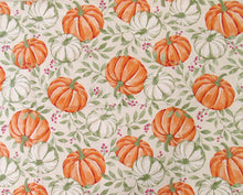 Autumn Pumpkins Vines and Berries Vinyl Flannel Tablecloth Various Sizes Orange