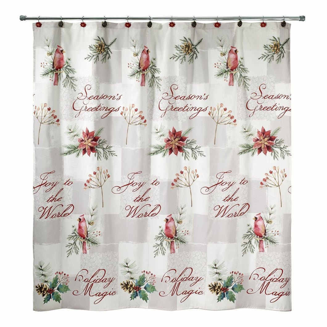 Avanti Linens Cardinal Shower Curtain Christmas