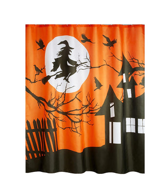 Halloween Fabric Shower Curtain Flying Witch Haunted House