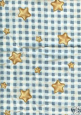 Blue Jean Teddy Bear Check Gold Stars Childs Room Nursery Curtain Valance