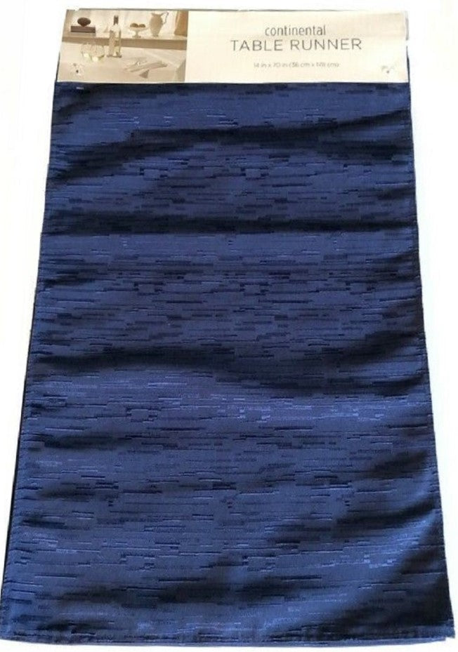 Bardwil Continental Table Runner 14 x 70 Navy Blue Polyester Texture