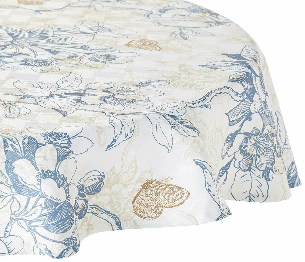 Bardwill Chandler Cherry Blossom Tablecloth Beige Blue Floral 52 x 70 Rectangle