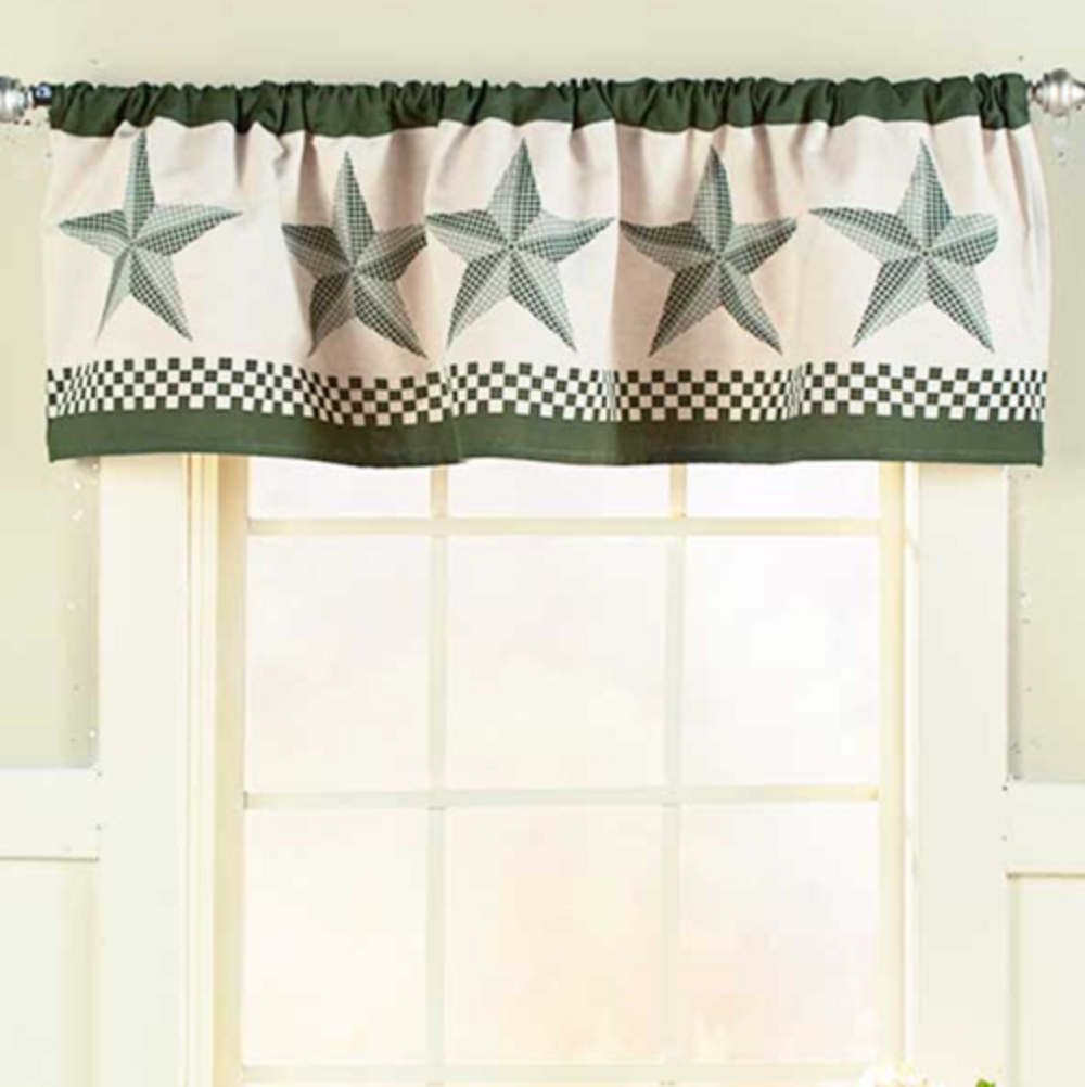 Barn Star Window Valance Forest Green Country Primitive