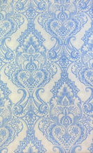 Baroque Medallion Vinyl Tablecloth White and Blue 52 x 70 Oblong