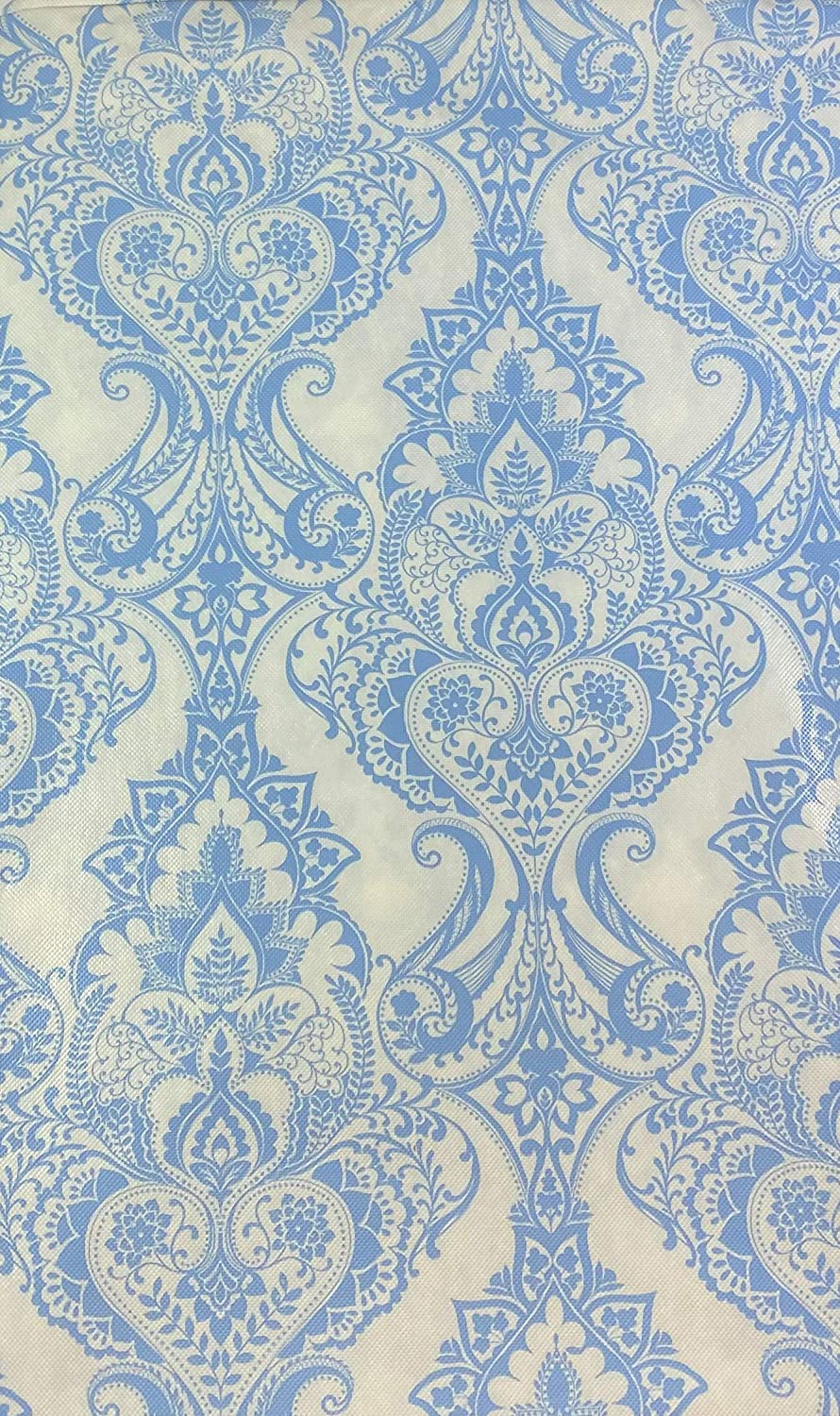 Baroque Medallion Vinyl Tablecloth White and Blue 60 Round
