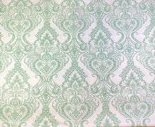 Baroque Medallion Vinyl Tablecloth White and Green 60 Round